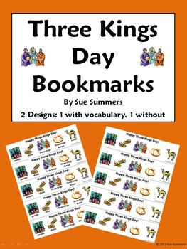 Three Kings Day Bookmarks in English - With and Without Vo