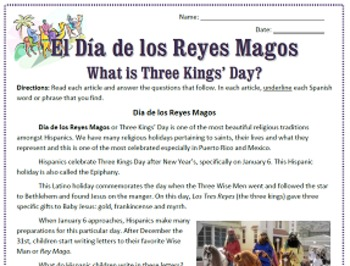 Three Kings' Day / El Día de los Reyes Magos Reading Sub Plan