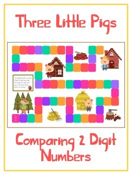 Three Little Pigs Math Folder Game - Common Core - Compari