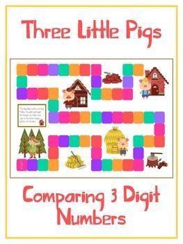 Three Little Pigs Math Folder Game - Common Core - Compari