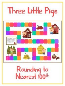Three Little Pigs Math Folder Game - Common Core - Roundin
