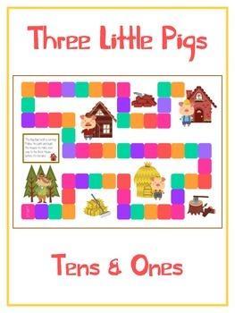 Three Little Pigs Math Folder Game - Common Core - Tens an