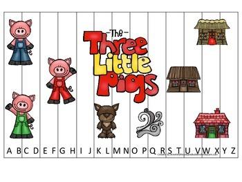 Three Little Pigs themed Alphabet Sequence Puzzle child da