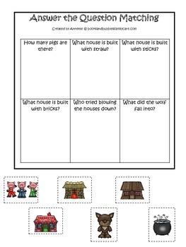Three Little Pigs themed Answer the Question preschool edu