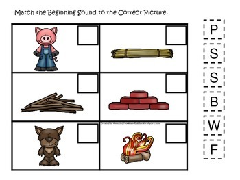 Three Little Pigs themed Beginning Sound preschool educati