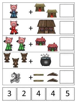 Three Little Pigs themed Math Addition preschool printable