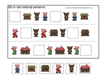 Three Little Pigs themed Missing Pattern preschool educati
