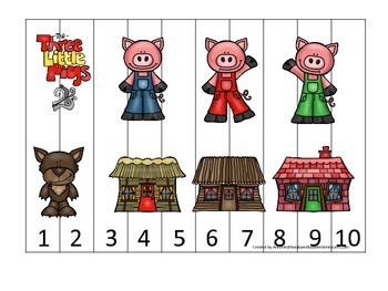 Three Little Pigs themed Number Puzzle preschool education