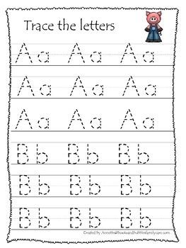 Three Pigs themed A-Z tracing preschool educational worksh
