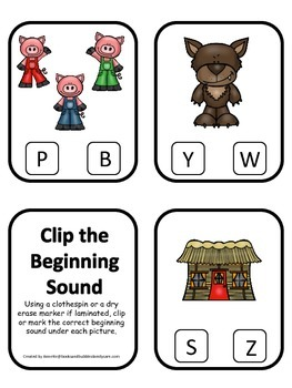 Three Pigs themed Beginning Sounds Clip it Cards preschool