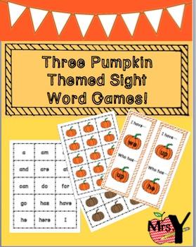 Three Pumpkin Themed Sight Word Games!