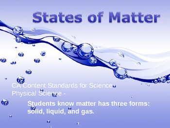 Three States of Matter Solid, Liquid, and Gas Science Powerpoint
