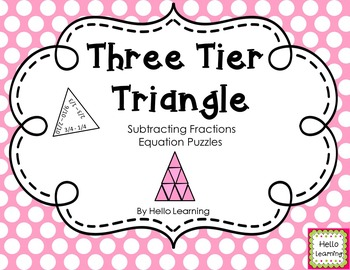 Three Tier Triangle Math Puzzle- Subtracting Fractions