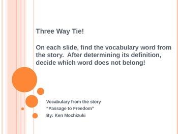 "Three Way Tie-Vocabulary from the story ""Passage to Freedo"