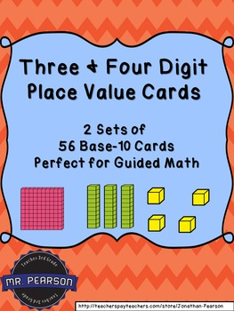 Three and Four Digit Base-10 Number Cards Bundle - Two Set