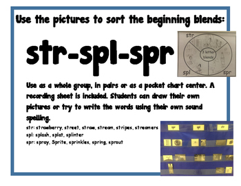 Three letter Blend Word Sorts Center