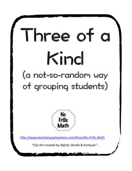 Three of a Kind Grouping Activity