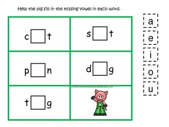 Three Pigs themed CVC #3 preschool homeschool vowel activi