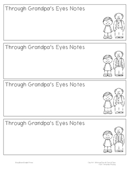 Through Grandpa's Eyes Notetaking Bookmark