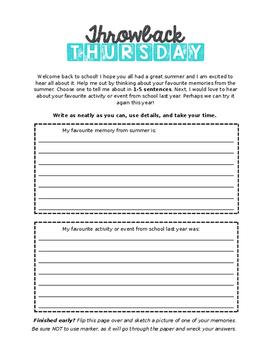 Throwback Thursday Prompt