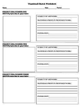 Thumbnail Sketch Worksheet
