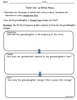 Thunder Cake Graphic Organizer -  Sequence and Character C