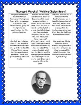 Thurgood Marshall Writing Choice Board