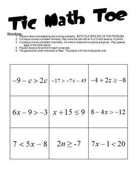 Tic-Math-Toe for Inequalities