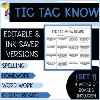 Tic Tac Know Set 2 [4 weeks of  Word Work or Spelling Home