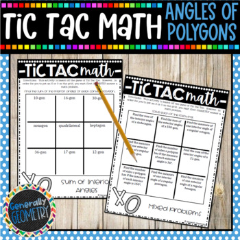 Tic Tac Math: Angles of Polygons, Geometry