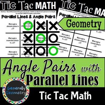 Tic Tac Math: Parallel Lines and Transversals; Geometry
