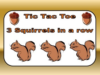 Tic-Tac-Toe 3 Squirrels in a Row- file folder game