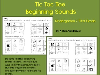 Kindergarten Tic Tac Toe Beginning Sounds Game