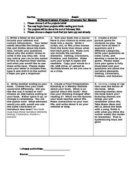 Tic-Tac-Toe Differentiated Independent Book Project Rubric