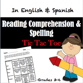 Tic Tac Toe Game Activities in Spanish & English- Reading