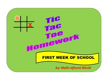 Tic-Tac-Toe Homework for First Week of School