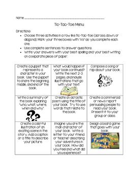 Tic-Tac-Toe Menu for Books Read