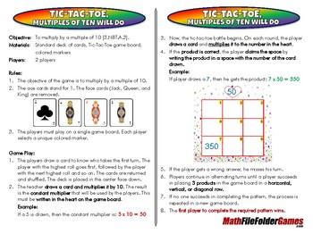 Tic-Tac-Toe, Multiples of Ten will Do - 3rd Grade Math Gam