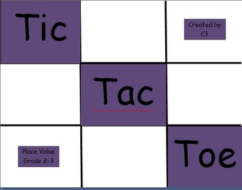 Tic Tac Toe Place Value Grade 2 and 3