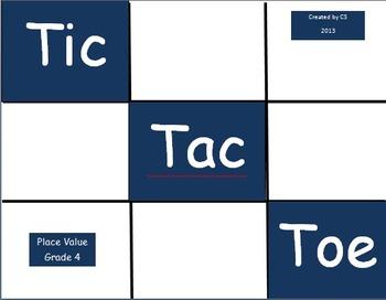 Tic Tac Toe Place Value Grade 4
