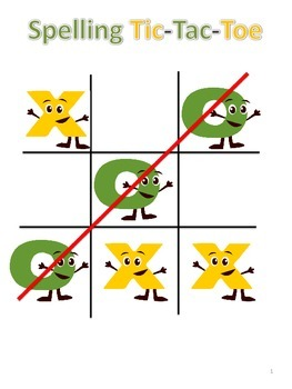 Tic Tac Toe Spelling Homework Sheet