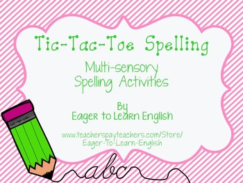 Tic-Tac-Toe Spelling - Multi-sensory Activities