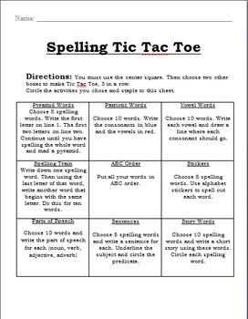 Tic Tac Toe Spelling Packet