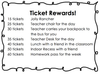 Ticket Behavior Plan {for upper elementary grades}
