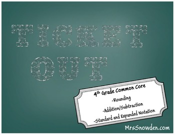 Ticket Out 4th Grade Math Place Value Common Core Assessment
