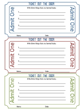 Ticket Out of The Door Printable