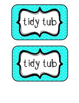 """""""Tidy Tubs"""" Table - Grouped Desks Labels - Bright Turquois"""