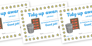 Tidy Up Award Certificate
