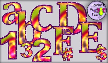 Tie Dye Letters and Numbers Set 2