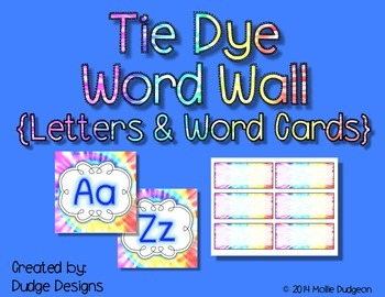 *Classroom Decor* - Tie Dye Themed Word Wall Letters and W